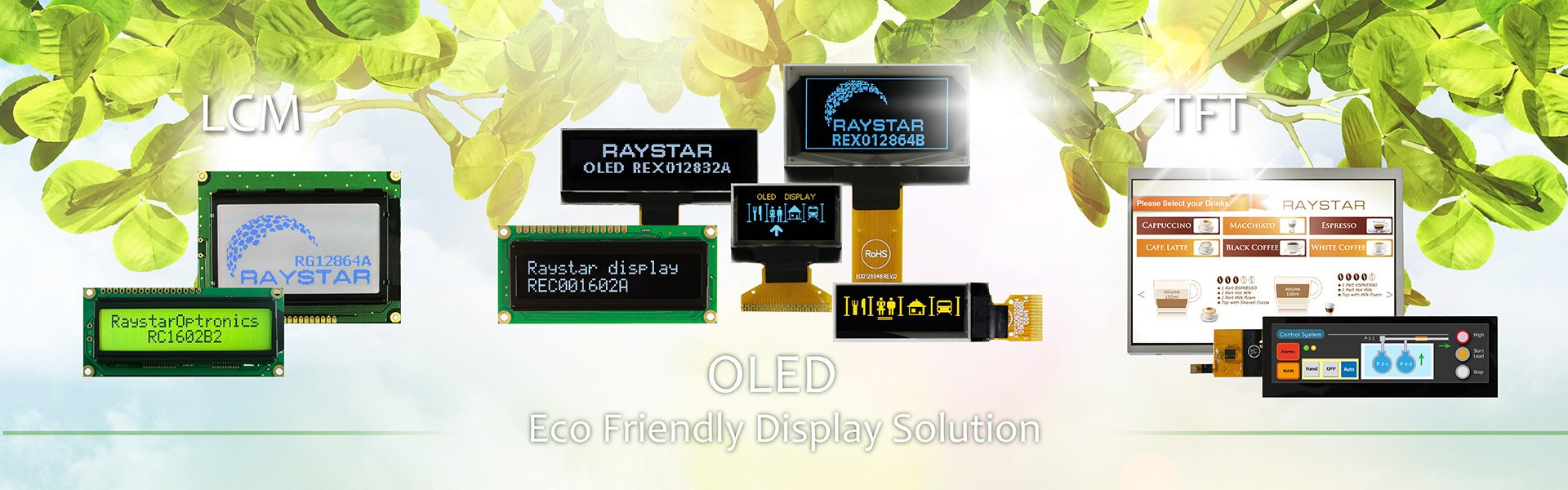 TFT LCD Display, Monochrome OLED, Dot Matrix LCD