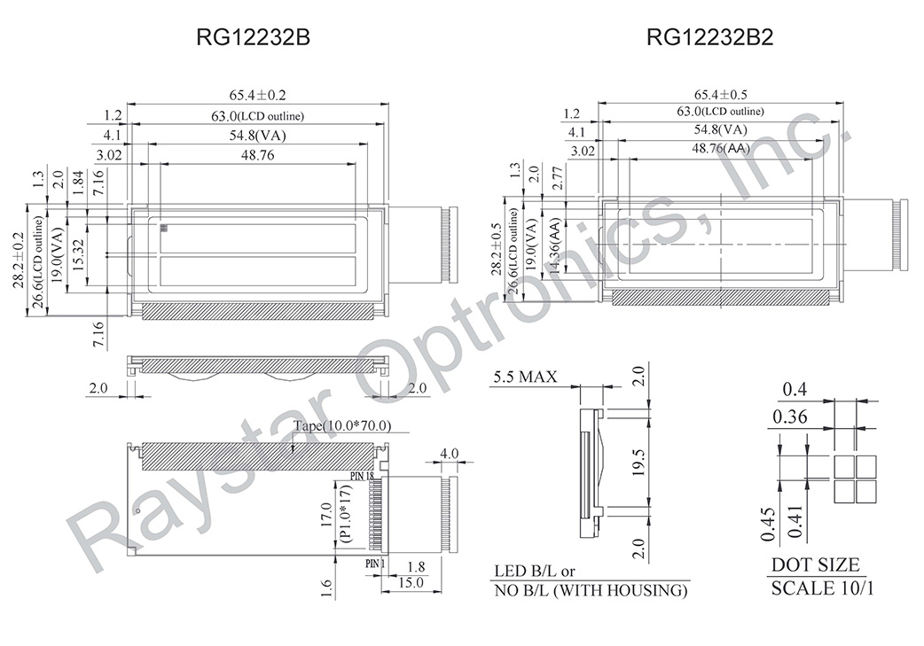 122x32 LCD Graphics Modules - RG12232B