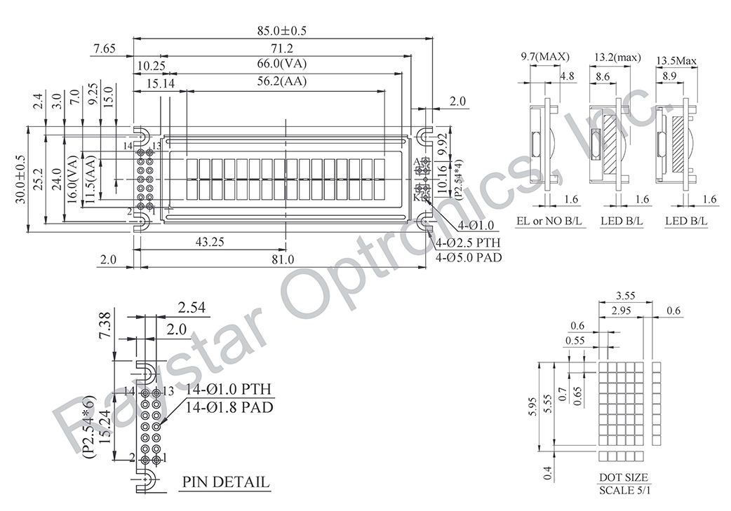 Two Line LCD Display, 2 Line LCD Display Datasheet, 2 Line 16 Character LCD Display Datasheet, RC1602D