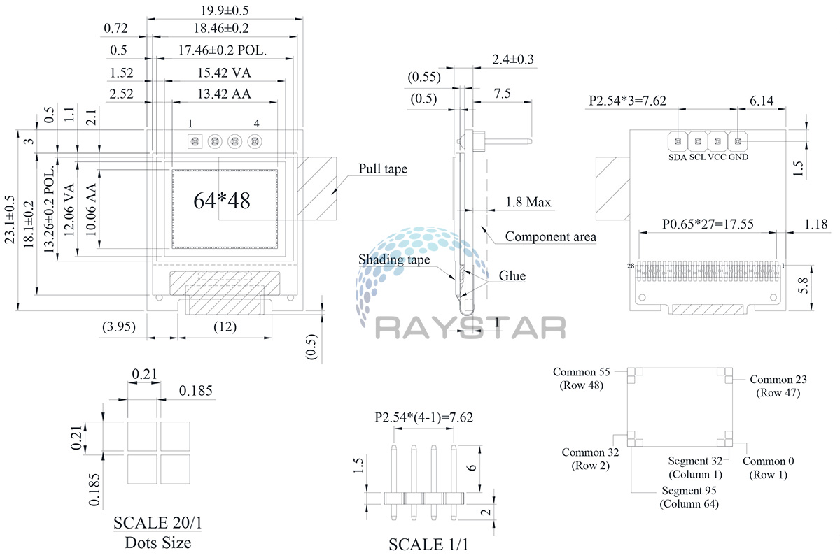 Miniature OLED Display, 64x48 pixel OLED Display REA006448A - Raystar