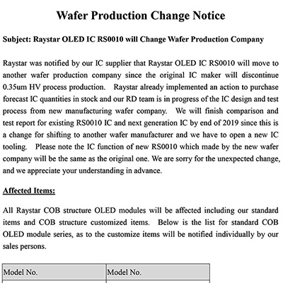 Wafer Production Change Notice