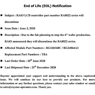 End of Life (EOL) Notification - IC RA8822