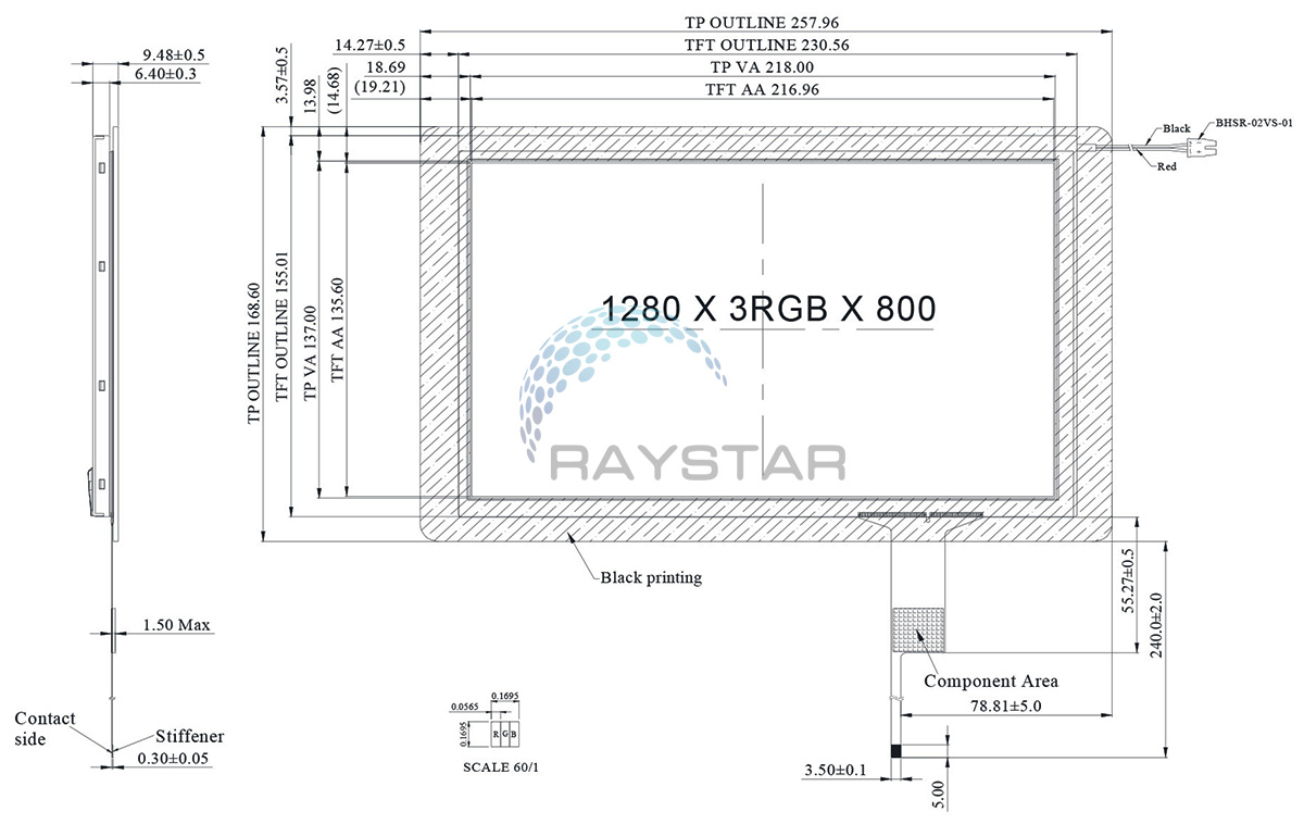 Sun Readable, IPS, LVDS Capacitive Touch Screen Display 10.1- RFK1010F-AYH-LNG
