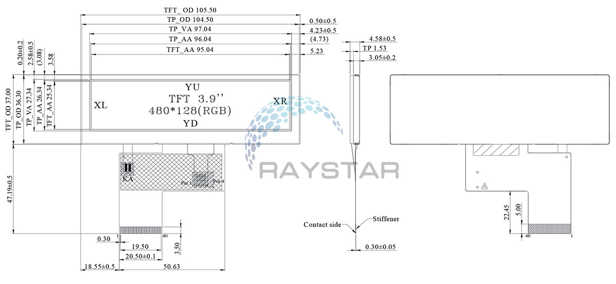 Resistive Touch Panel TFT LCD Modules 3.9 - RFS390B-ALW-DNS